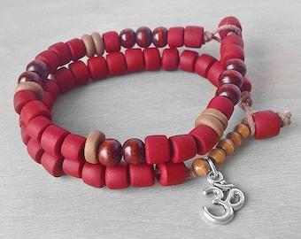 Red Chakra Bracelet - Energy Bracelet - Root Chakra Red Yoga Bracelet Set - Om Aum Ohm Bracelet - Silver Om Jewelry Meditation Bracelets