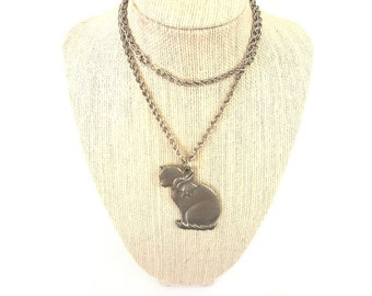 Vintage Silver Kitty Kitten Cat Necklace - Sitting Extra Long