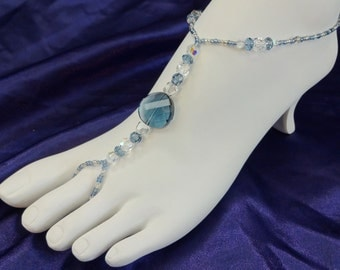 Denim Blue Swarovski Crystal Full Foot Jewelry, Anklet Attached to Toe Ring