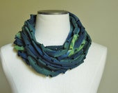 Tie dyed infinity scarf, jersey cotton