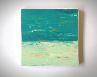 Abstract 1180 | Original Fine Art by Crystal Henson | 10 x 10 Teal Sea Foam Green Iridescent Gold Abstract Acrylic Horizon Knife Painting