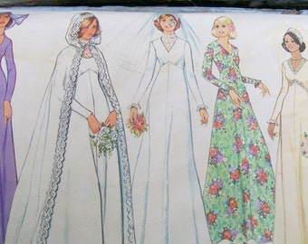 Misses BRIDE & BRIDESMAID PATTERN Simplicity 1975 Cape Dickey Wedding Size 8 Bust 31.5