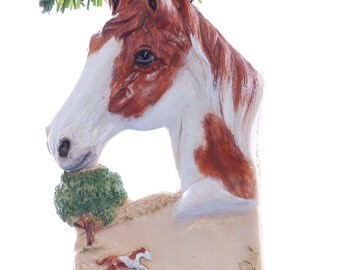 Personalized Christmas ornament - chestnut paint horse ornament personalized with name of your choice (h78)