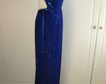 Vintage Royal Blue Sheer Silk Formal Evening Gown with elegant and exquisite beading and sequin design in Mint Condition