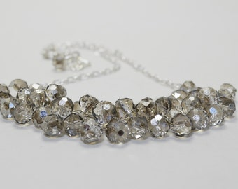 Smokey Crystal Necklace, Crystal Cluster Necklace, Bridal Crystal Jewelry, Smoke Crystal Necklace, Gray Crystal Jewelry, Sparkly Necklace.