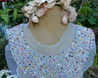 Silver and Multi Colored Beaded Appliques