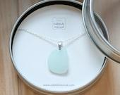 Sea Glass & Sterling Silver Necklace - Light Aqua Pendant