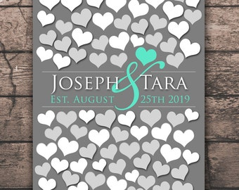 Wedding Memoir Custom Guestbook Poster | 90 Guest Sign In 13x19 | Unique Wedding Guest Book | BRIDAL GIFT POSTER | Interactive Art Print _01