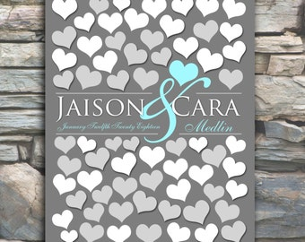 Bridal Shower Gift | Anniversary Gift | Wall Hang Art | Bride Groom | 68 Guests 16x20 Wedding Guest Book Keepsake | Engagement Gift_01