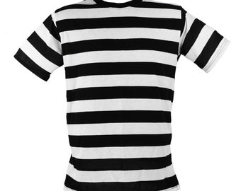 Men's Short Sleeve Black & White Striped Shirt