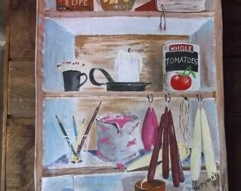 Things on the shelf  wall or floor cloth, Acrylic on canvas. by Rusyniak.