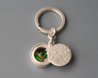 Sterling Silver keychain Tree with Leafs, Silver keychain locket, Keyring, sterling silver locket