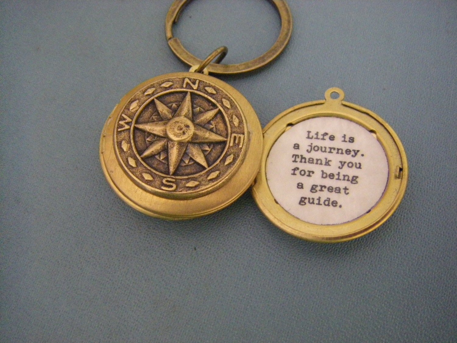 Fathers Day Compass Locket Keychain With Quote Inside Life Is