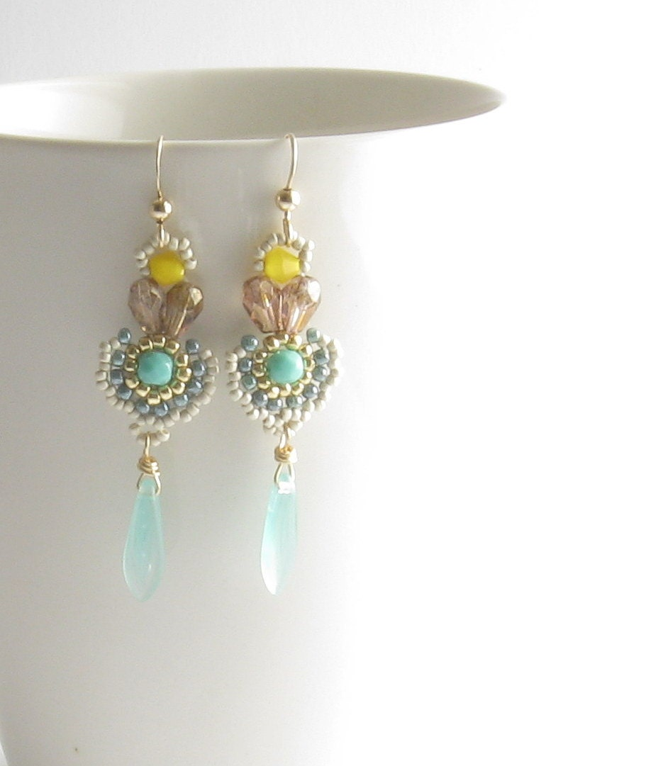 yellow mint turquoise earrings,beadwork handmade Long dangling earrings, with smoky quartz crystal,goldfield wires