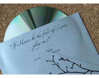 CD Sleeve Wedding Favor Winter Branch Silhouette Design - CD Sleeve - Winter Branch Silhouette - Wedding Favors - Winter Wedding Favor - CD