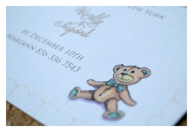 teddy bear baby shower party invitations girl by sparetiredesign