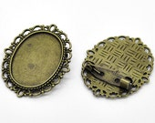 10 Brooch Pins - WHOLESALE - Holds 25x18mm Cabochons - Antique Bronze - 36x29mm -  Ships IMMEDIATELY  from California - A379a