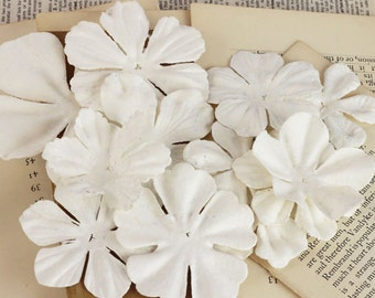 SALE Prima Puccini Flowers #2 - Mistable Masked White Paper Flowers - 12 pcs - 561260