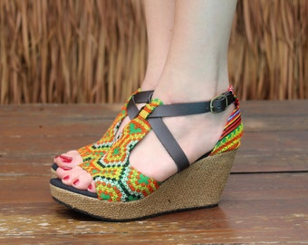 Vegan Womens Ethnic Sandals Colorful Hmong Embroidery Faux Leather Straps Wedge Heel