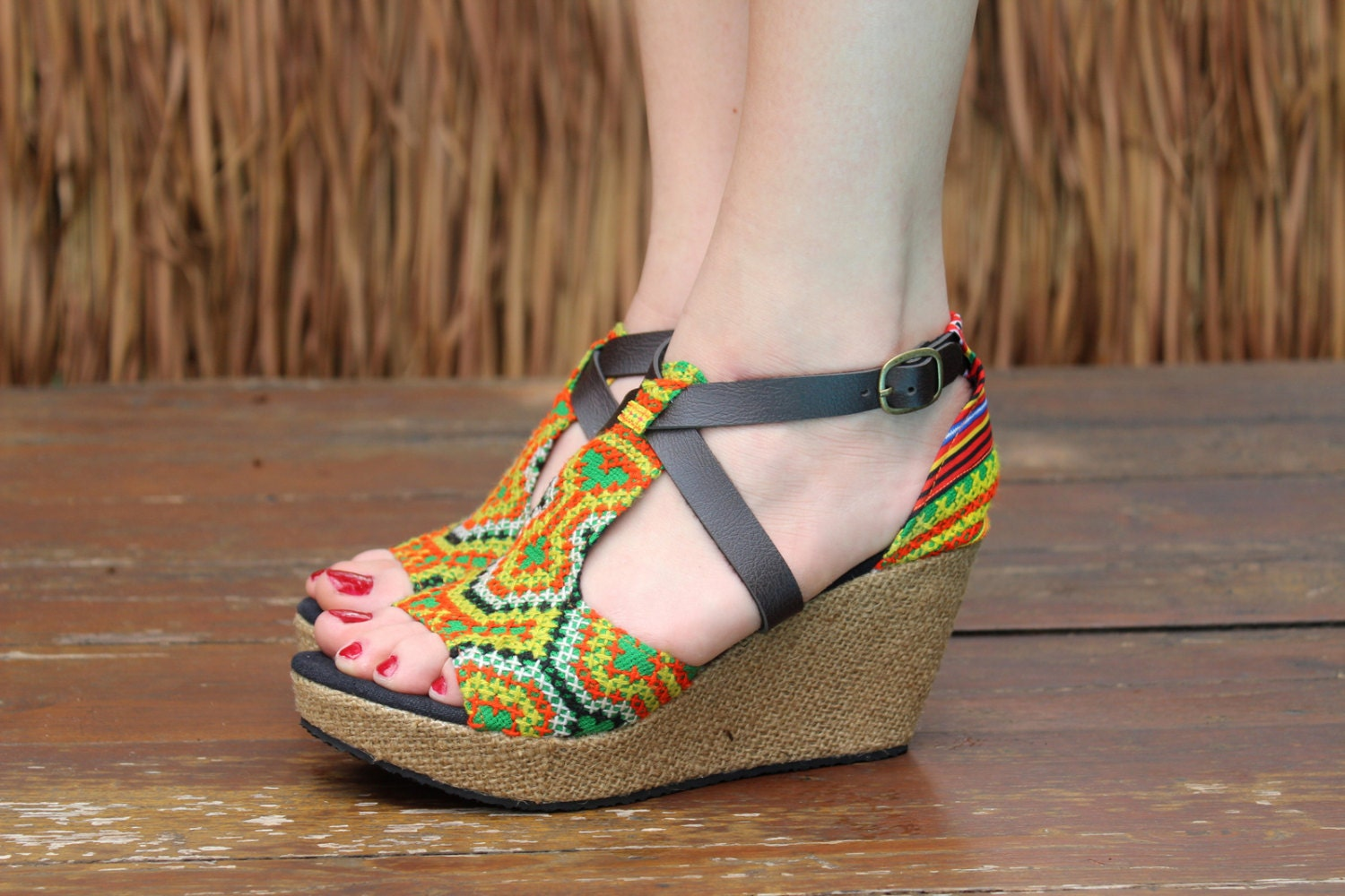 Vegan Womens Ethnic Sandals Colorful Hmong Embroidery Faux