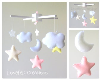Baby Crib Mobile - Baby Mobile - Pink Yellow Mobile - Custom baby mobile - Pick your colors :)