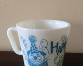 Vintage Pyrex Blue Happy Birthday Mug