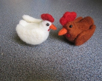 Needle felted hens set of 2 chickens christmas gift felted animals gift under 50