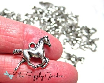 Silver Running Horse Charms (10)