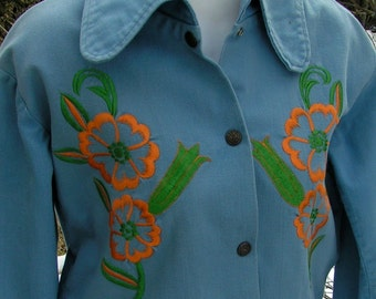 60s MOD Embroidered Brushed DENIM Jean Jacket Snaps Cuffed Medium
