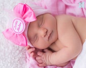 Newborn Hospital Hat for Girls Little Sister Bow (infant hat, newobrn hat with bow, newborn girl hat, infant beenie)
