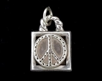 Peace Sign Pendant, Silver