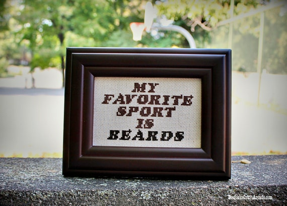My Favorite Sport is Beards - framed cross stitch