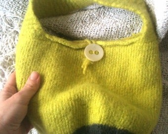 Yellow Felted Hand Bag, with gray accent, lined in banana fabric, yellow shoulder bag