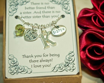 Personalized Sister Necklace With Birthstone and Initial -- S-03 -- Personalized Sister's Gift -- Sisters Necklace -- Christmas Gift