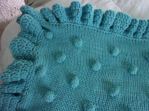 Knitting Pattern For Popcorn Baby Blanket : Hand Knit Baby Blanket in popcorn/bobble stitch pattern with