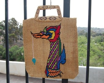 Sale~  A work of Art~ Vintage JUTE tote Embroidered bag purse NATIVE AMERICAN