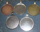 6 Extra Large Round Blank Photo Pendant base 50 mm (outside ) Trays customizable blank Settings for necklaces, ornaments