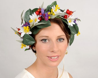 Wildflower Crown, Flower Wedding Crown, Daisy Headpiece, Summer Wedding Flower Crown, Large Floral Crown, Floral Bridal Head Piece Australia