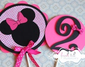 2 piece Hot Pink Minnie Mouse Centerpiece or Cake Top