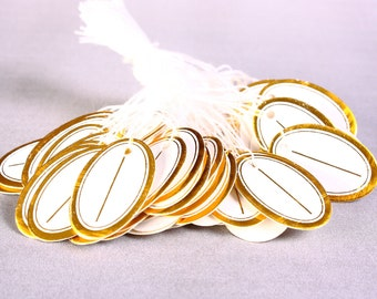 Gold and white Jewelry price tags - white cotton string tags - blank tags - Price Label Jewelry Tag (1219) - Flat rate shipping