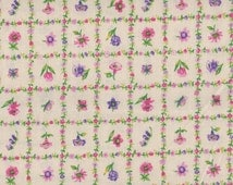 SALE, Pink Floral Fabric, Pink and  Green Fabric, Vintage Floral Fabric, 1 yard Fabric, 05035