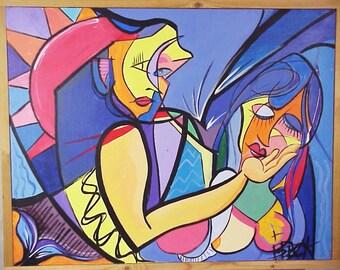 "Modern Art Abstract Painting ""Beauty Through You"" B. Peck Artist Inscribed en verso"