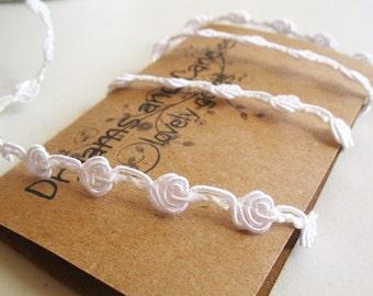 "1 yd White Vintage Crochet Lace -1/4"" width -White lace -White Vintage Trim -White Trim"