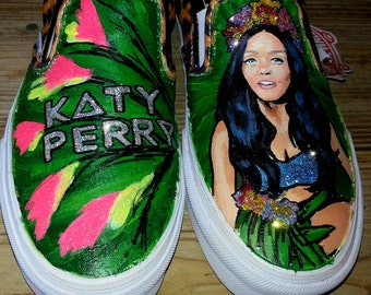 KATY PERRY ROAR glitter jungle scene handpainted custom leopard print Vans slip on shoes sneakers any size