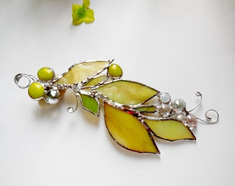 Soft Yellow, Moss Green Golden Leaves. Thanksgivings gift. Stained Glass Suncatcher.