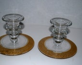 bowl and candle holders     clear and gold glass bowl    gold bordered glass art deco 3 piece set