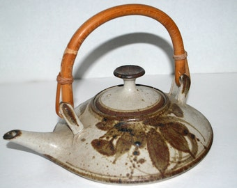 Stoneware tea pot  sake warmer  wood fired vintage pottery wheel thrown tea pot with bamboo handle