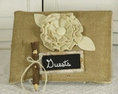 Rustic Wedding Guest Book- Burlap Weddings- Twig Pencil-Cottage Chic Guest Book- Wedding Guest Book