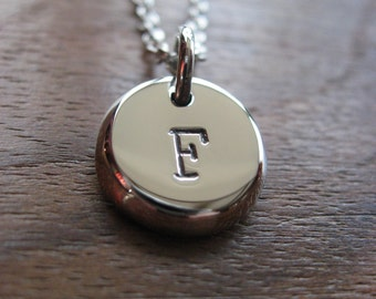 Chunky Initial Stamped Letter F Silver Pendant Necklace