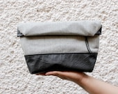 Toiletry bag, roll-up men bag,shaving bag, groomsmens gift, lunch bag, 2 ways pouch,Faux blacl leather and grey plaid wool.